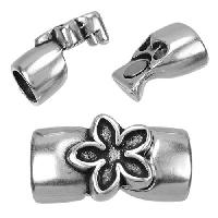 Regaliz Flower 10mm Oval Leather Cord Magnetic Clasp - Antique Silver