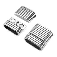 Regaliz Double Strand Striped 10mm Oval Leather Cord Magnetic Clasp - Antique Silver
