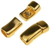 Regaliz Hidden Safety 10mm Oval Leather Cord Magnetic Clasp - Gold Plate