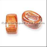Regaliz Oval Ceramic Bead 10mm - Peach Orange DNO