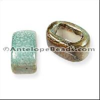 Regaliz Oval Ceramic Bead 10mm - Sea Green Brown