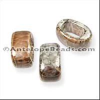Regaliz Oval Ceramic Bead 10mm - Grey Tan