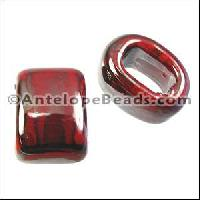 Regaliz Oval Ceramic Bead 10mm - Red Grey