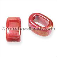 Regaliz Oval Ceramic Bead 10mm - Red DNO