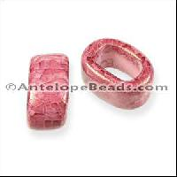 Regaliz Oval Ceramic Bead 10mm - Red Pink DNO