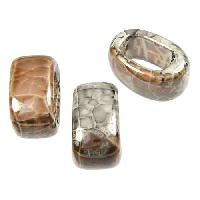 Regaliz 15mm OVAL ceramic bead GREY:TAN
