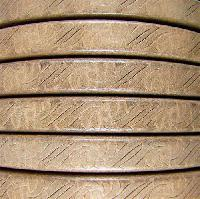 Regaliz Embossed 10mm Oval Leather Cord - Beige