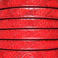 Regaliz Embossed 10mm Oval Leather Cord - Red