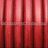 Regaliz 10mm Oval Leather Cord - Distressed Red - per inch