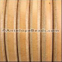 Regaliz 10mm Oval Leather Cord - Natural - per METER