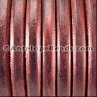 Regaliz 10mm Oval Leather Cord - Metallic Burgundy - per METER