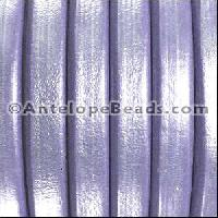 Regaliz 10mm Oval Leather Cord - Metallic Lilac - per inch