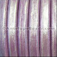 Regaliz 10mm Oval Leather Cord - Metallic Orchid - per METER