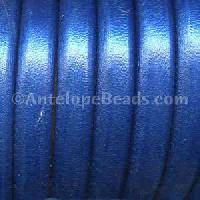 Regaliz 10mm Oval Leather Cord - Metallic Cobalt Blue - per inch