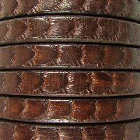 Regaliz Scales 10mm Oval Leather Cord - Brown - per inch