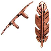 Regaliz Feather 10mm Oval Leather Cord Slider per 10 pieces - Antique Copper