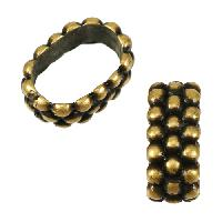 Regaliz Triple Dot Ring 10mm Oval Leather Cord Slider - Antique Brass