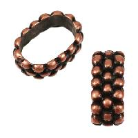 Regaliz Triple Dot Ring 10mm Oval Leather Cord Slider - Antique Copper