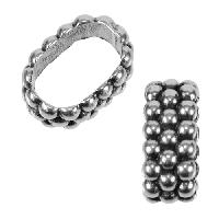 Regaliz Triple Dot Ring 10mm Oval Leather Cord Slider - Antique Silver