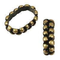 Regaliz Double Dot Ring 10mm Oval Leather Cord Slider - Antique Brass