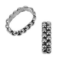 Regaliz Double Dot Ring 10mm Oval Leather Cord Slider - Antique Silver