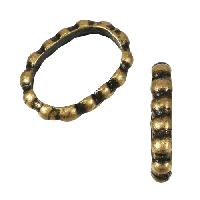 Regaliz Dot Ring 10mm Oval Leather Cord Slider - Antique Brass