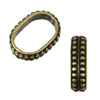 Regaliz Regal 10mm Oval Leather Cord Slider - Antique Brass