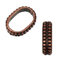 Regaliz Regal 10mm Oval Leather Cord Slider - Antique Copper