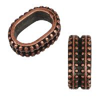 Regaliz Double Regal 10mm Oval Leather Cord Slider - Antique Copper