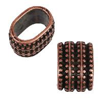 Regaliz Triple Regal 10mm Oval Leather Cord Slider per 10 pieces - Antique Copper
