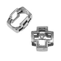 Regaliz Square Cross 10mm Oval Leather Cord Slider - Antique Silver