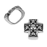 Regaliz Medieval Cross 10mm Oval Leather Cord Slider - Antique Silver
