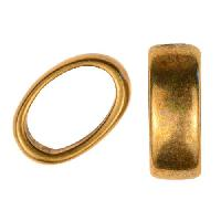 Regaliz Slice Ring 10mm Oval Leather Cord Slider - Antique Brass