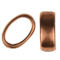 Regaliz Slice Ring 10mm Oval Leather Cord Slider per 10 pieces - Antique Copper