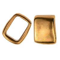 Regaliz Rectangle 10mm Oval Leather Cord Slider per 10 pieces - Antique Brass