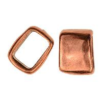 Regaliz Rectangle 10mm Oval Leather Cord Slider per 10 pieces - Antique Copper