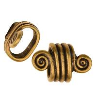 Regaliz Spiral Dots 10mm Oval Leather Cord Slider per 10 pieces - Antique Brass