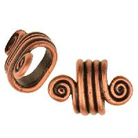 Regaliz Spiral Dots 10mm Oval Leather Cord Slider per 10 pieces - Antique Copper