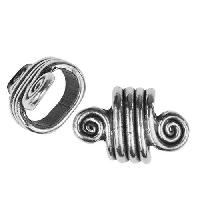 Regaliz Spiral Dots 10mm Oval Leather Cord Slider per 10 pieces - Antique Silver