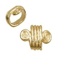 Regaliz Spiral Dots 10mm Oval Leather Cord Slider per 10 pieces - Gold Plated