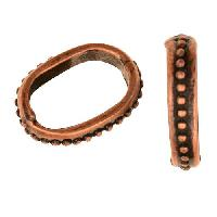 Regaliz Small Dots 10mm Oval Leather Cord Slider per 10 pieces - Antique Copper