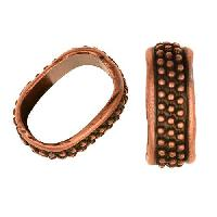 Regaliz Medium Dots 10mm Oval Leather Cord Slider per 10 pieces - Antique Copper