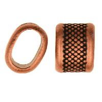 Regaliz Large Dots 10mm Oval Leather Cord Slider per 10 pieces - Antique Copper