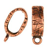 Regaliz Etched Charm Holder 10mm Oval Leather Cord Slider per 10 pieces - Antique Copper