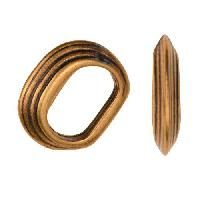 Regaliz Stacked Ring 10mm Oval Leather Cord Slider per 10 pieces - Antique Brass