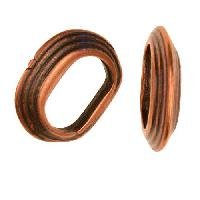 Regaliz Stacked Ring 10mm Oval Leather Cord Slider per 10 pieces - Antique Copper