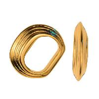 Regaliz Stacked Ring 10mm Oval Leather Cord Slider per 10 pieces - Gold Plate