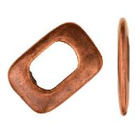 Regaliz Thin Square 10mm Oval Leather Cord Slider per 10 pieces - Antique Copper
