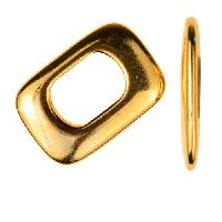 Regaliz Thin Square 10mm Oval Leather Cord Slider per 10 pieces - Gold Plate