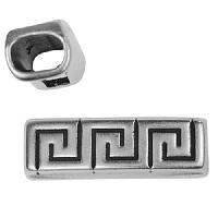 Regaliz Meander 10mm Oval Leather Cord Slider - Antique Silver